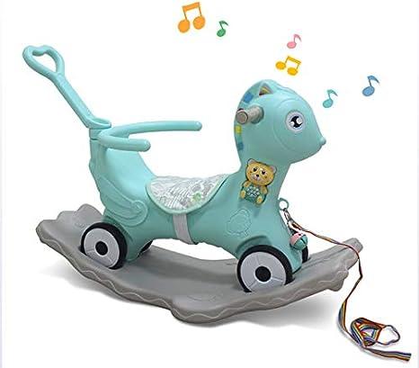 JTYX Polea para niños Rocking Horse Cuatro en una Máquina multifunción de educación temprana Trojan Baby Rocking Chair Regalo de cumpleaños