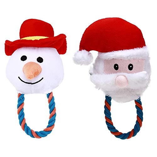Stock Show 2Pcs Squeaky Plush Toys Pet Dog Christmas Santa Xmas Snowman Shape Chewing Cotton Rope Toy for Small Medium Breeds Dogs Doggie Puppy ()