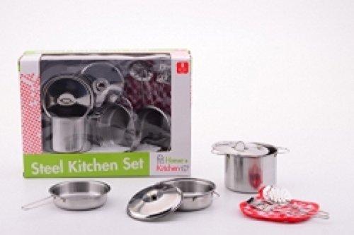 2 opinioni per Cucina gioco dell'imitazione set accessori in acciaio pentole, coperchi, spatole
