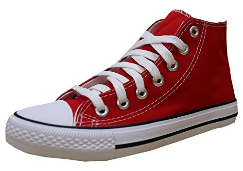 S-3 Women's High Top Classic Canvas Fashion Sneaker (10 B(M) US, Red)