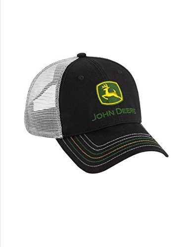John Deere Black Unstructured Cap Gray Mesh Multiple Contrast Stitching Hat