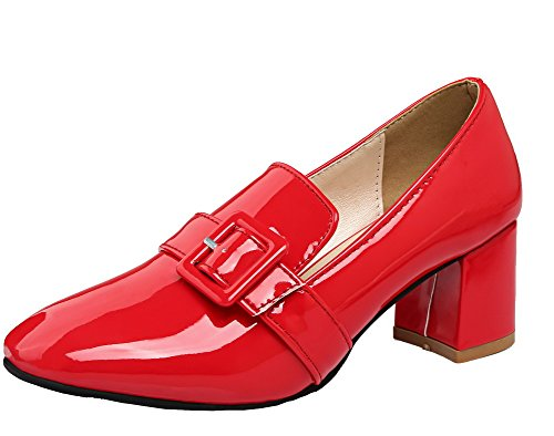 AmoonyFashion Women's Kitten-Heels Pull-On Square Closed Toe Pumps-Shoes, Red, 41 ()
