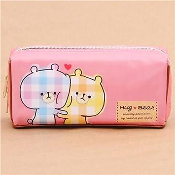 Estuche bolso kawaii marrón rosa lindo oso abrazo colores de Kamio: Amazon.es: Juguetes y juegos