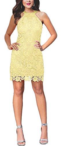 SUJAN Womens Slim Dresses Sleeveless Lace Halter Cocktail Short Dress