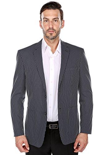 Chama Dark Navy and White Textured Pinstripe Slim Fit Cotton Blazer (42L) (Navy Pinstripe Blazer)