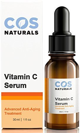 Cos Naturals 20  Vitamin C Serum For Face With L Ascorbic Hyaluronic And Ferulic Acid  1 Fl Oz