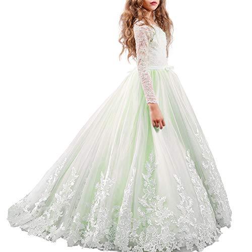 Vestiti Eleganti Per Cresima.Amazon Com Flower Girl Dress Long Sleeve Lace Gown Princess