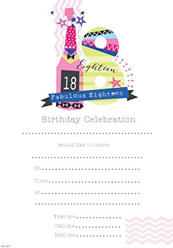 18th Birthday Party Invitations (Pink/Girl/2013) Pack of 20 with Envelopes {Simon Elvin}