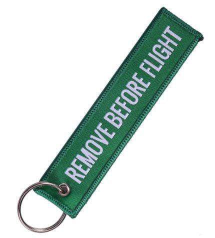 Llavero Remove Before Flight Verde y Blanco