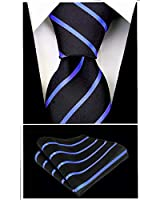 Pencil Stripe Ties for Men - Woven Necktie & Pocket Square - Black w/Blue