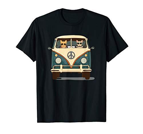 Cool Cats Road Trip Groovy Van T-Shirt Retro Hippie Pop Art ()
