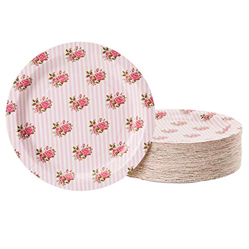 Floral Paper Plates - 80-Pack Disposable 9-Inch Floral Plates, Tea Party, Weddings, Bridal Shower Party Supplies, Vintage Pink Rose Flowers Print, Round Plates for Appetizer, Lunch, Dessert