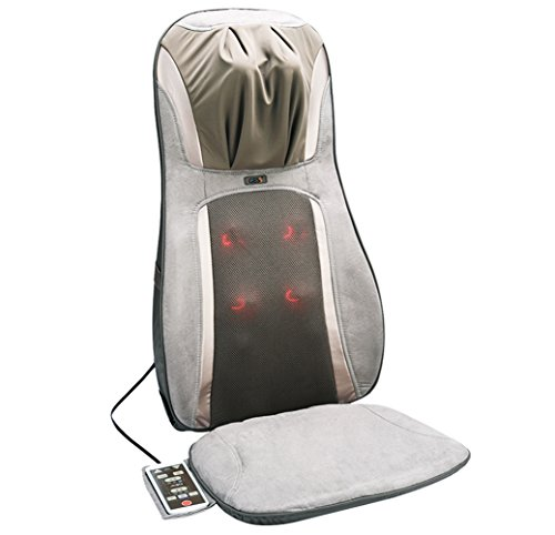 GESS819 Massage Cushion with Heat / Shiatsu Deep Kneading, Rolling,Vibrating - Massage Full Back, Upper back, Lower Back or Pinpoint Precise Massage Spot