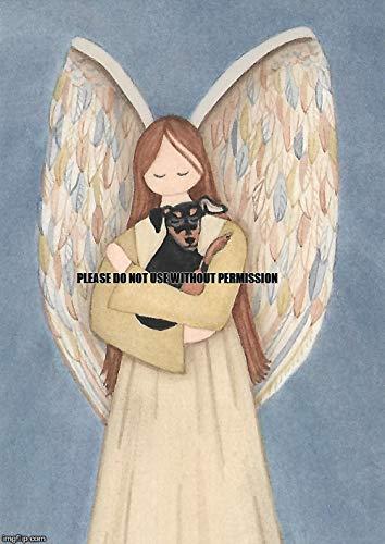 Lynch Miniature Pinscher (minpin) and Angel Folk Art Print