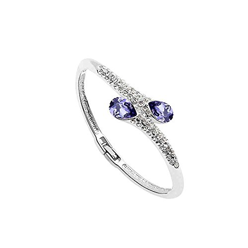 Silver Crystal Diamond Accent Teardrop Water drop Bracelet for women teenage girls, with a Gift Box, Made with SWAROVSKI Crystal, Ideal Gift for Birthdays / Christmas / Wedding--Amethyst, Model: ()