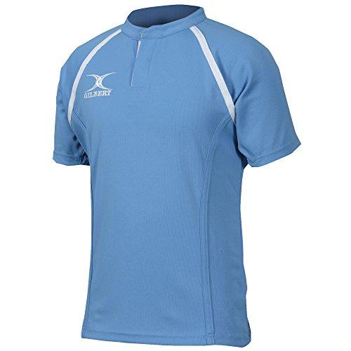 (ギルバート?ラグビー) Gilbert Rugby キッズ?ジュニア用 Xact Match 半袖 ラグビーシャツ (7-8歳) (スカイ)