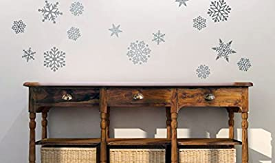 """Set of (15) 5"""" & 3"""" Snowflakes Peel & Stick Vinyl Wall Decals - Removable - Perfect for Holiday and Christmas decor on Walls, Windows, Storefronts, and in Offices"""