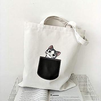 La Bolsa de Asas de Lona para Las Mujeres de Tela de Dibujos Animados Cruzada Blanca Bandolera Nuevo Perro Lindo del Gato del Bolso de Compras del Bolso Femenino del Partido, 1: