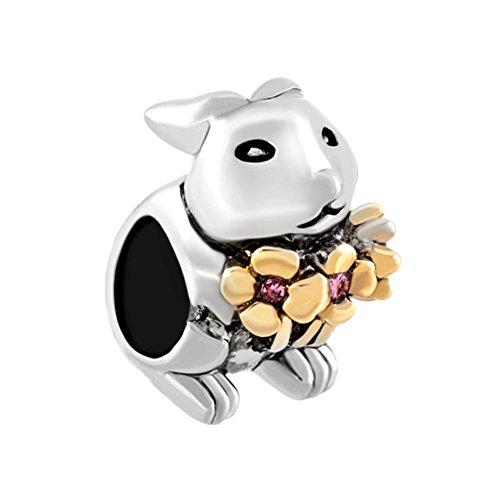 LovelyCharms Flower Bunny Rabbit Charm Beads For Bracelets