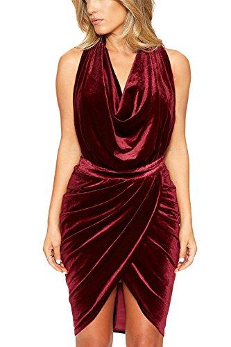 Elegantes V Red Terciopelo Acanalada De Bodycon Sólido Mujeres Cuello Backless Manga Vestido Halter Las w5q4IOBR