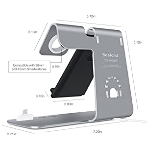 Bestand 3 in 1 Aluminum Apple iWatch Stand, Airpods Charging Station, Qi Fast Wireless Charger Dock for iPhone X/8/ 7 /6s Plus Samsung S8 and other Qi-Enabled Devices, Grey