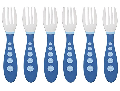 Gerber Stainless Steel Tip Kiddy Cutlery Forks - 6 Pack, Blue
