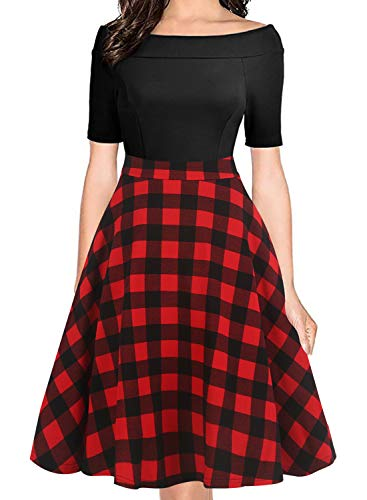 oxiuly Women's Vintage Classic Plaid Patchwork Off Shoulder Pockets Party Cocktail Work Swing Dress OX232 (M, BK-redplaid)]()