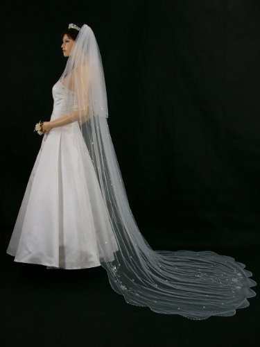 2T 2 Tier White Bridal Cathedral Length Scalloped Motifs Beaded Edge Wedding Veil by Venus Jewelry