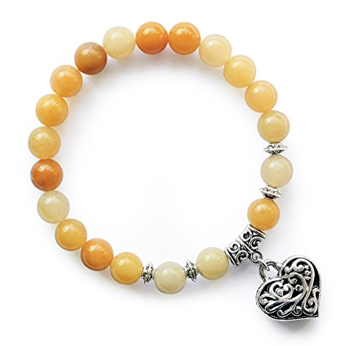 Yellow Jade Beaded Topaz Jasper Stretch Bracelets Birthstone Heart Charm Bracelet Gifts for Women - Jade Bead Love Heart Bracelet