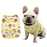 "Stock Show Pet Dog Summer Vest, Cute Teddy French Bulldog Dog 100% Cotton Fashion T-Shirt Breathable Sleeveless Summer Dog Clothes for Small Medium Dog (Back Lenght - 29CM/11.4"", Lemon in Orange)"