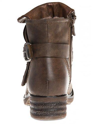 Boots SBO078 Biker Vintage Women Brown CASPAR qZwxaC