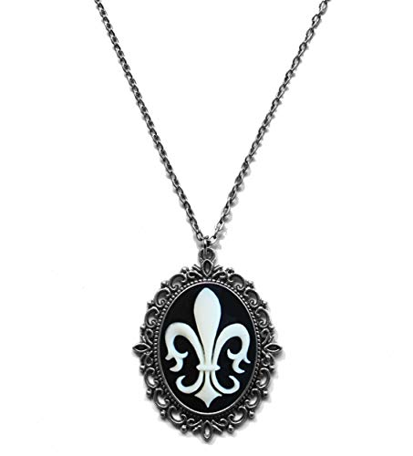 Victorian Vault Fleur de Lis Cameo Steampunk Gothic Pendant Necklace on Chain