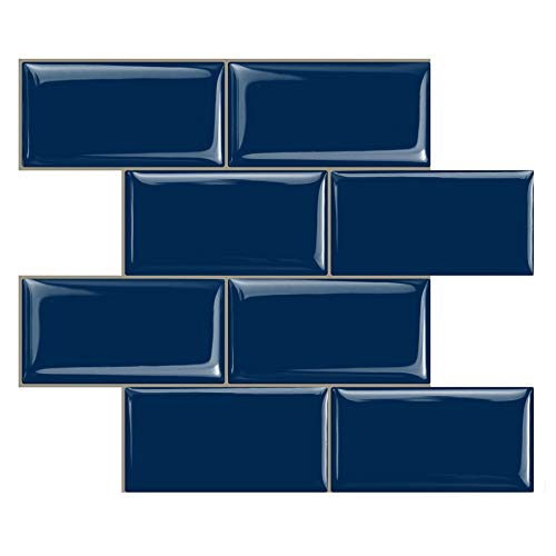 STICKGOO Peel and Stick Subway Tile, Stick on Tiles Backsplash for Kitchen & Bathroom in Deep Blue (Pack of 10, Thicker Design)