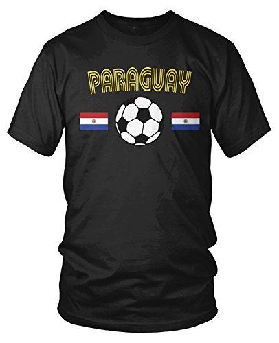 Paraguay Soccer T-shirt - Amdesco Men's Paraguay Soccer, Paraguayan Football Pride T-Shirt, Black Medium
