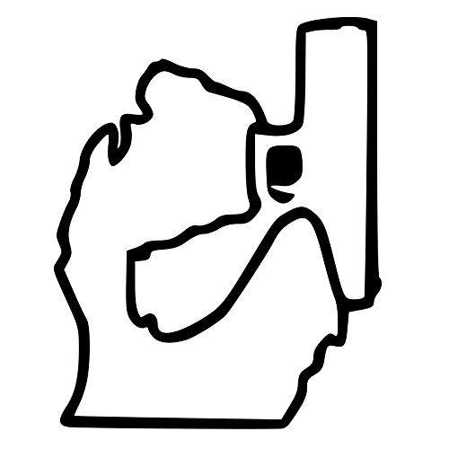 Michigan Holding Gun Outline Decal Sticker (Mirror (Michigan Mirror)