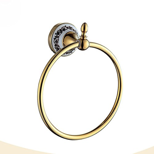 OLQMY Carved towel ring, European style gold luxury towel ring, bathroom pendant, towel ring by OLQMY (Image #1)