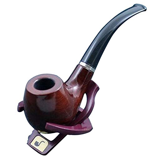 isite Workmanship with Filter Wooden Pipe Wooden Pipe Send Leather Case and Pipe Rack ()
