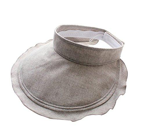 (Sun Hat Women's Lightweight Folding UV Protection Sunscreen Cotton and Linen Sun Hat,Gray Cotton and Linen top Hat,M(56-58cm))