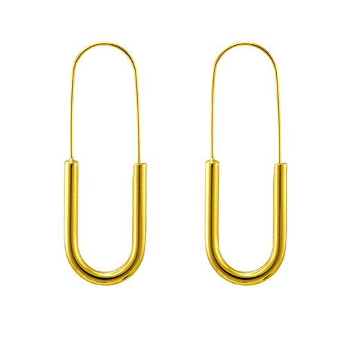 - Endless Stainless Steel Snap Hoop Earrings Real Gold Plated Hanging Dangling Thin Minimalist Earrings for Women (Gold/Pin-shaped)