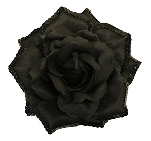 "WD2U Large 6"" Sequin Tea Rose Flower Hair Bow Alligator Clip Brooch Black 1148"
