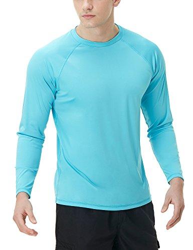 (TSLA Men's UPF 50+Swim Shirt Swim Long Sleeve Tee Rashguard Top, Basic Sun Block(mss03) - Sky Blue,)