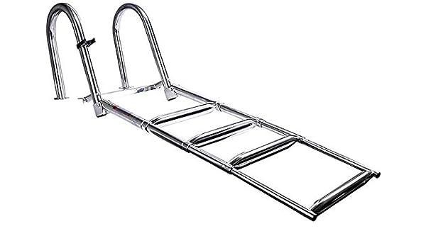 WYZXR Escalera de baño de pontón de 4 peldaños Escalera con escalón Extra Ancho, Escalera de barandilla telescópica Plegable de Acero Inoxidable para Piscina de muelles de Barcos: Amazon.es: Hogar