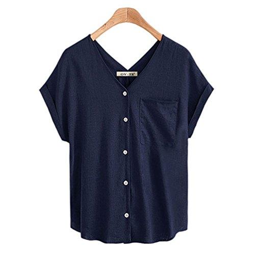 FINCATI Shirts Women Flax Textured Cotton Tops V Neck with Buttons Pocket Casual Loose T Shirt Blouse (A-Dark Blue, XXXL)