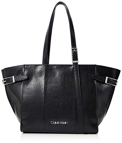 Calvin Klein - Winged Med Shopper, Bolsos totes Mujer, Negro (Black), 11x24x27 cm (W x H L)