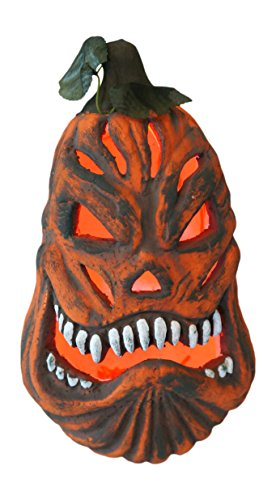 Scary Pumpkin (12-Inch Lighted Foam Pumpkin with Color-Changing LED Light Halloween Decoration)