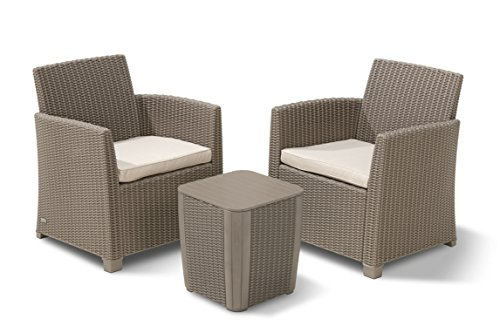 - Keter 234079 Corona 3 Piece Set All Weather Outdoor Patio Balcony Furniture with Cushions, Cappuccino
