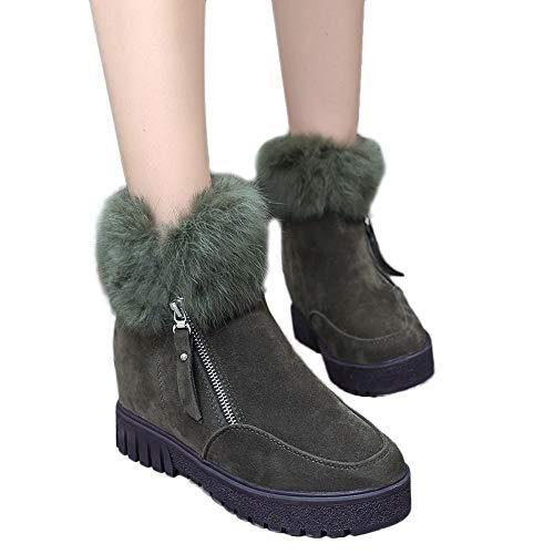 Da Inverno Pelliccia Classico Donna Morbida Stivali Tacchi Di Neve Caldi Army Moda Invernali Verde liuchehd Scarpe Piatti Invernali 6qYqtp