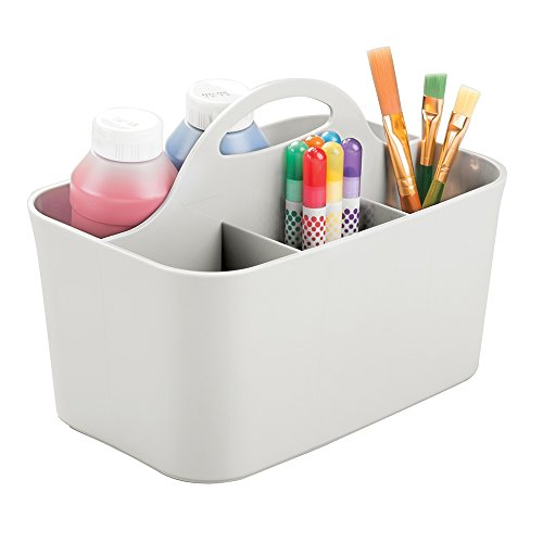 mDesign Art Supplies, Crafts, Crayons and Sewing Organizer Tote - Light Gray by mDesign