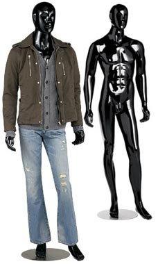1pc, Male Glossy Black Cameo Fiberglass Mannequin