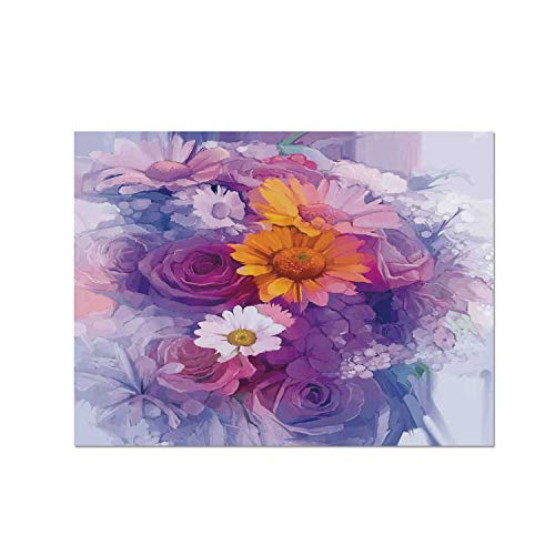 - C COABALLA Watercolor Flower Heat Resistant Table Mat,Bouquet of Rose Daisy and Gerbera Flowers Impressionist Style for Dining,15.7